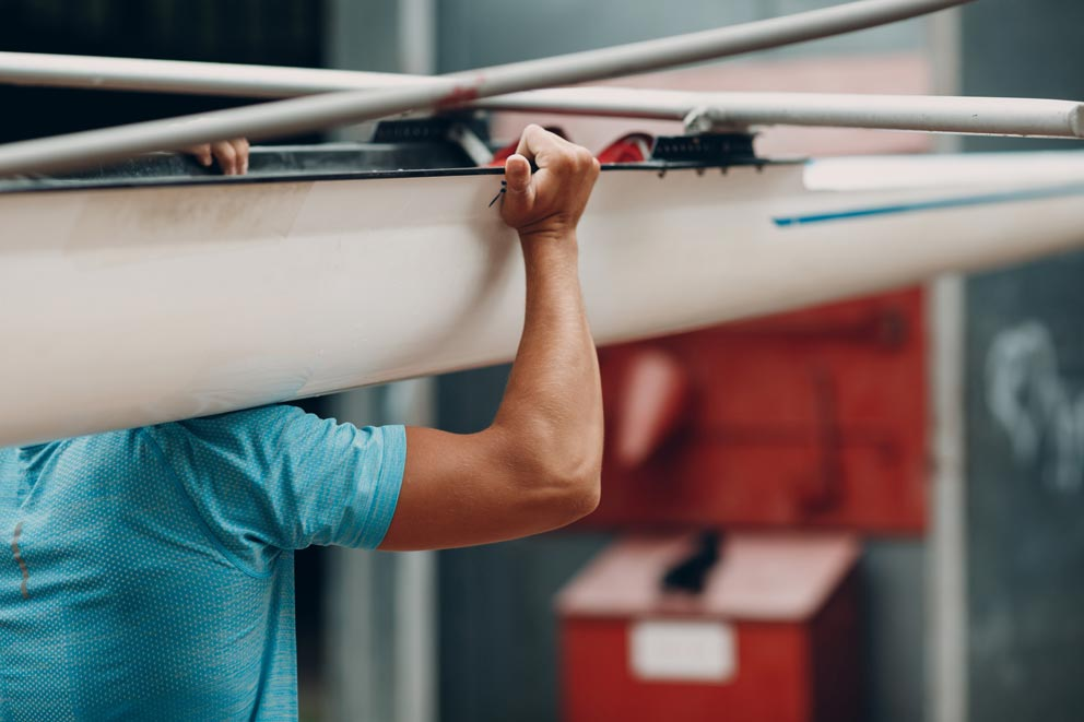 Sportsman Single Scull Man Rower Prepare To Competition Boat Regatta. Olympic Games Sport.